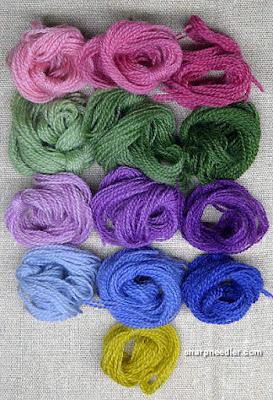 Crewel Sampler (by Elsa Williams): Selection of crewel wool