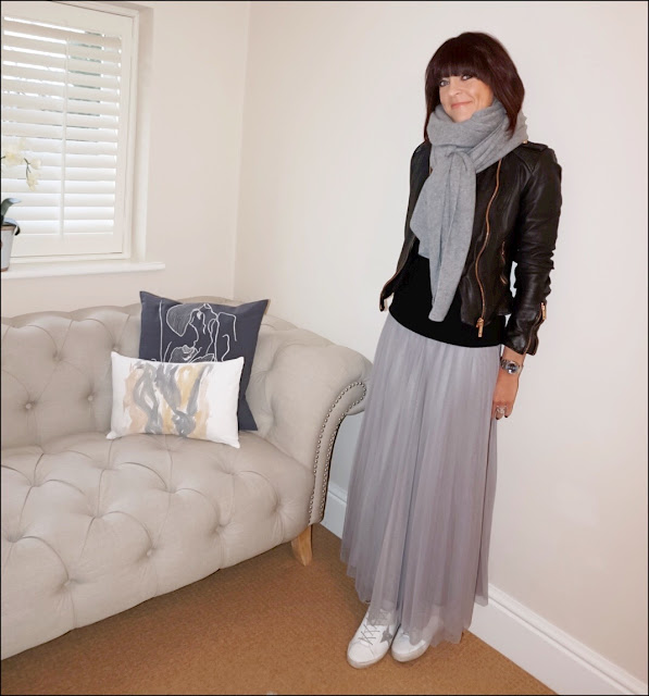 My Midlife Fashion, zara cashmere scarf, zara leather biker jacket, golden goose superstar trainers, marks and spencer pure cashmere crew neck jumper, marks and spencer a line mesh skirt, tulle skirt