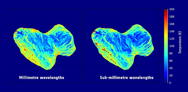 Subsurface temperature maps of 67P/Churyumov–Gerasimenko, showing the southern hemisphere of the comet. The maps are based on observations obtained with the Microwave Instrument for the Rosetta Obiter (MIRO) at millimeter (left) and sub-millimeter (right) wavelengths between September and October 2014. The MIRO data are projected on a digital shape model of the comet. A temperature bar (in degrees Kelvin), is to the right. Credits: ESA/Rosetta/NASA/JPL-Caltech
