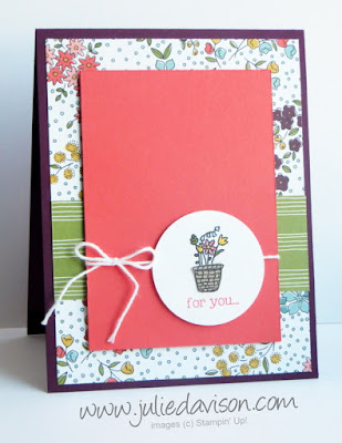 Stampin' Up! Sale-a-bration Sneak Peek: Pedal Pusher Flower Basket Card for #GDP022 #sneakpeek #stampinup #saleabration www.juliedavison.com