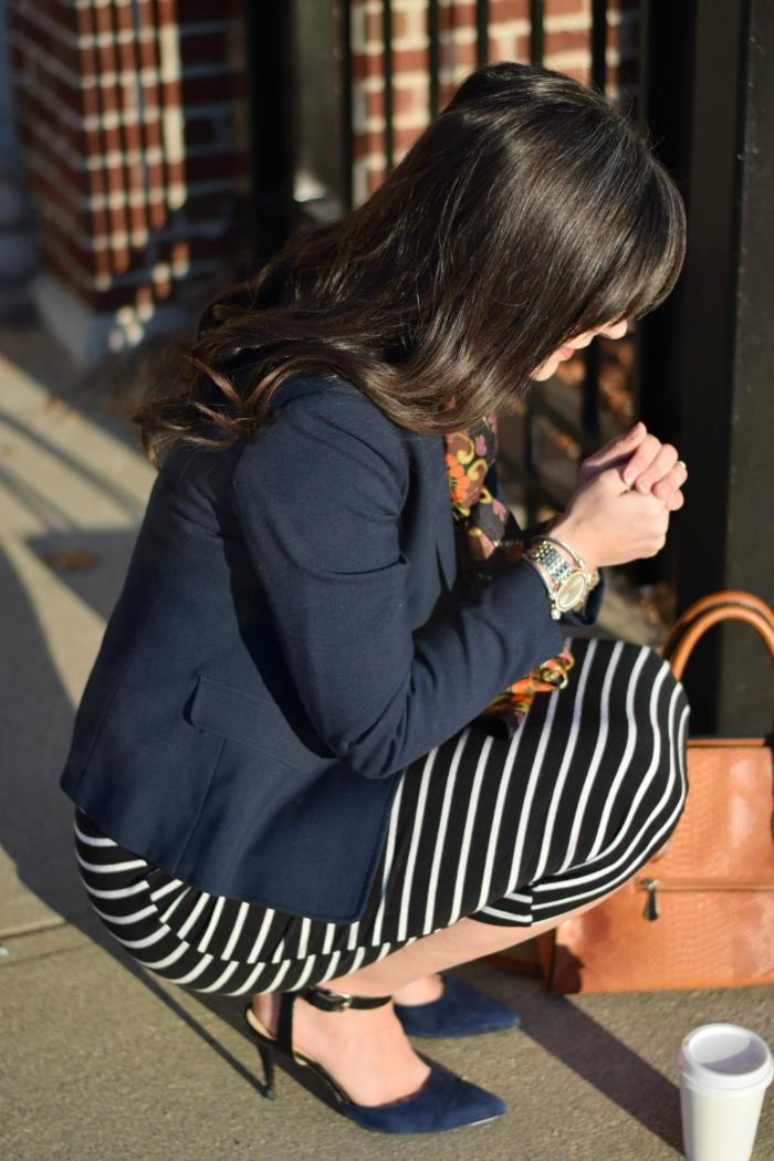 Make Striped Bodycon Dress Work Appropriate by adding a navy Blazer