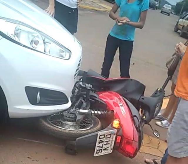 Policia Militar de Trânsito registra mais um acidente entre carro e moto em Cacoal