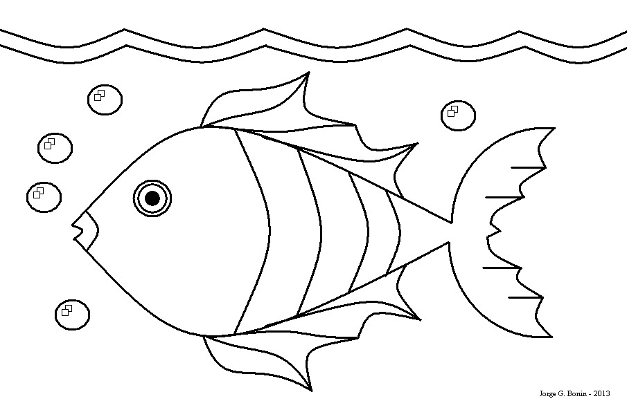 Arte No Paint: Desenho Para Colorir: Peixe