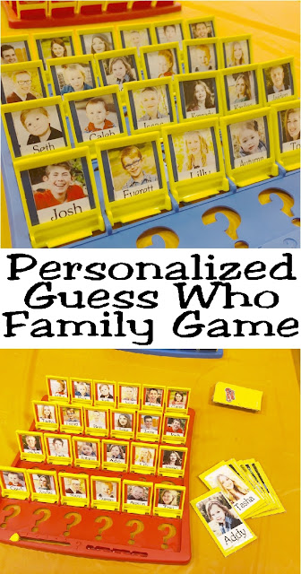 Play a personalized game of Guess Who with your family!  These board games are easy to make and so fun to play at family reunions or family game night since they include each member of your family on the board.  #gamenight #guesswho #personalizedguesswho #familygame #christmaspresent #diypartymomblog