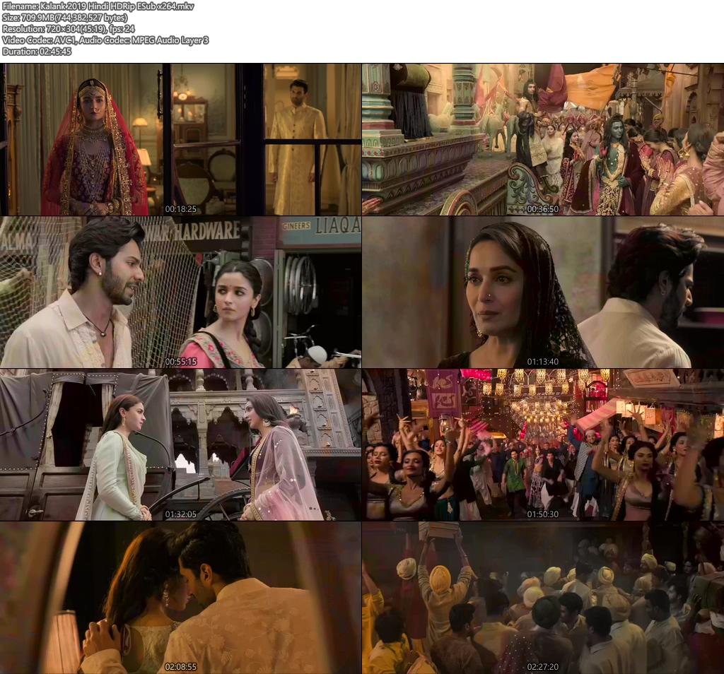 Kalank 2019 Hindi HDRip ESub x264   480p 300MB   100MB HEVC Screenshot