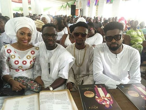 julius agwu and wife with i go die and basketmouth at comedian bovi mother burial