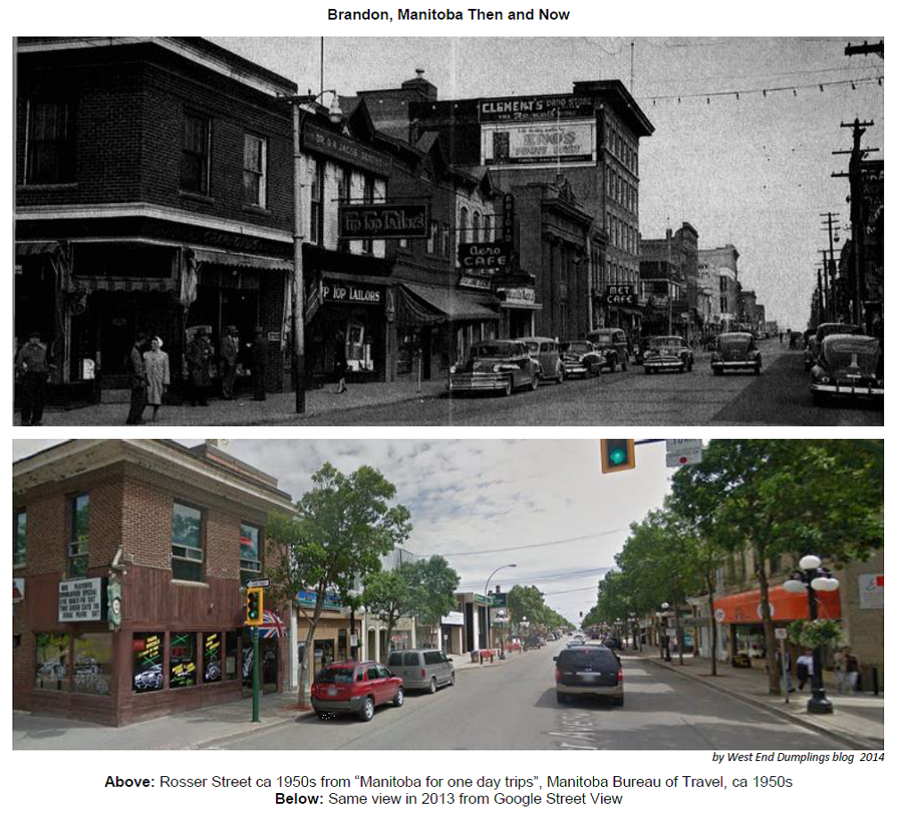 West End Dumplings: Rosser Avenue, Brandon - Then and Now
