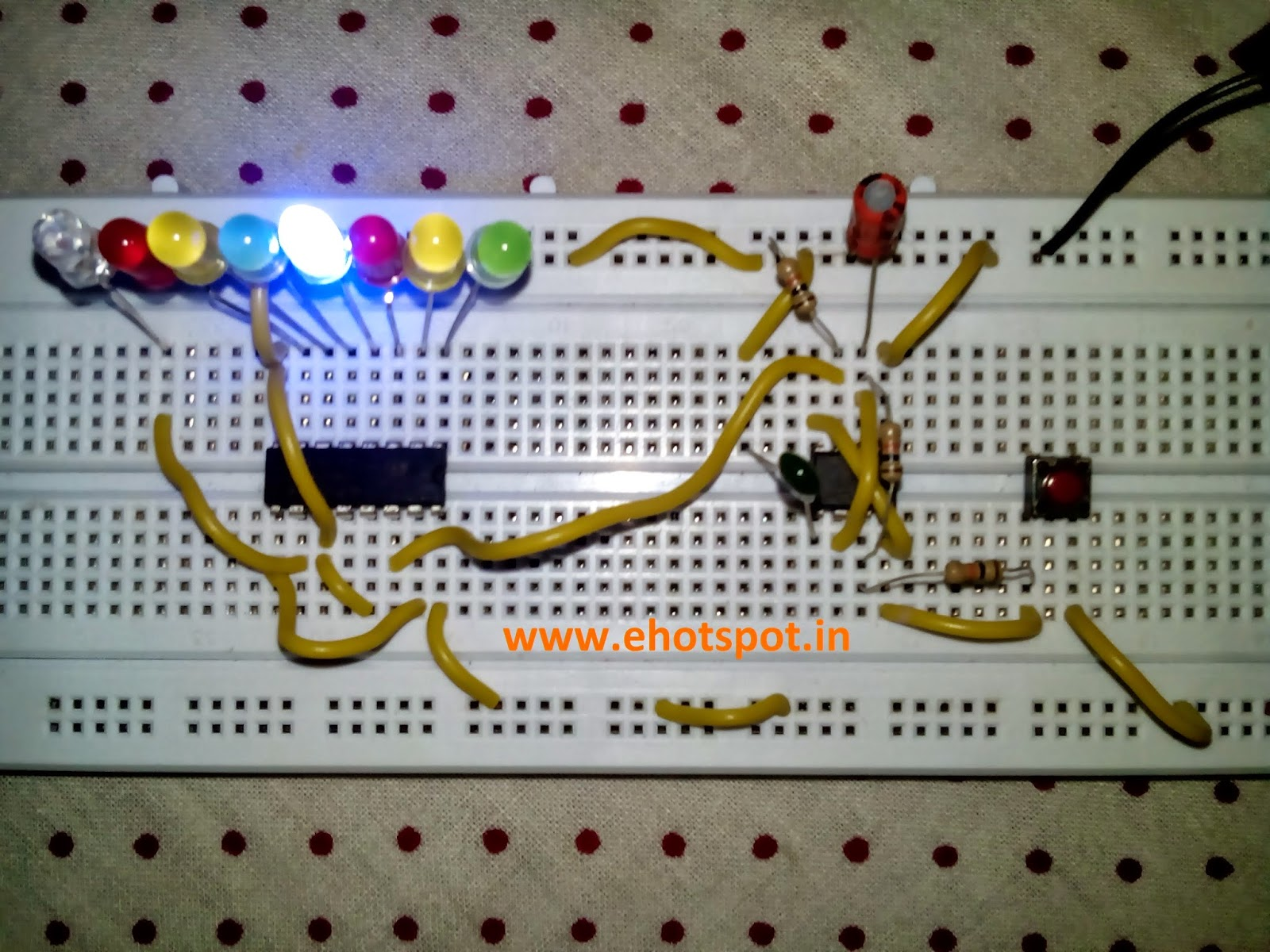 Electronics Hotspot 555 Everything About In This Circuit Ne555 Ic Is Used As Astable Multivibrator Also The Value Of Capacitor On Pin 2 Can Be Changed To Higher 10uf Decrease Speed Sequential Led Flashing When Push Button