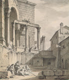 View of the Temple of Jupiter in Diocletian's Palace in Spalato by Charles-Louis Clerisseau - Architecture, Landscape Drawings from Hermitage Museum