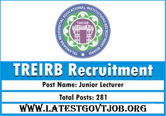 Latest Government Jobs: TREIRB Recruitment (2018) - 281 Vacancies for Junior Lecturer @ treirb.telangana.gov.in