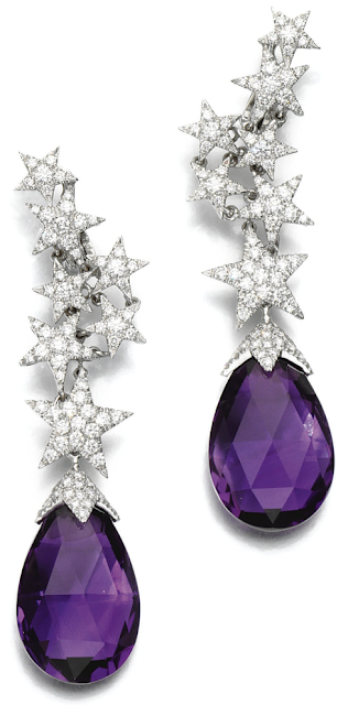 Amethyst and diamond star earrings by Margherita Burgener.