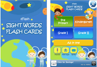 Sight Word Flash Cards: Great for practicing sight words. Offers different grade levels.  This app does have adds at the bottom.