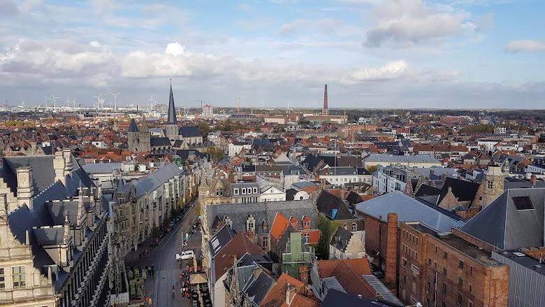 從根特鐘樓上所見的城市景色