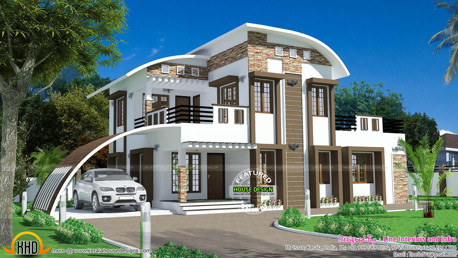 House curved roof style kerala home design and floor plans for House design styles