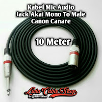 Kabel Mic Audio 10 Meter Jack Akai Mono To Male Canon Canare