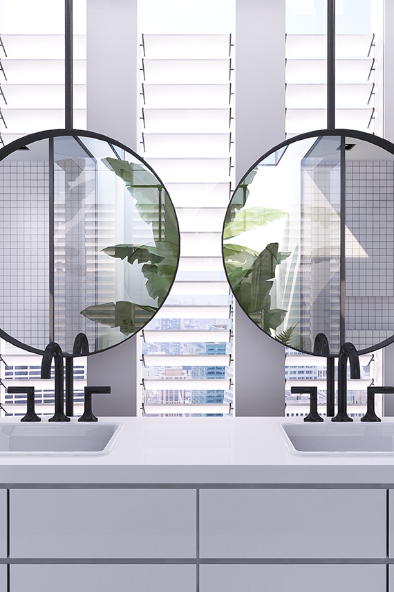Double sink vanity with round mirrors | Urban contemporary bathroom. Design by Eleni Psyllaki @myparadissi