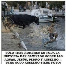 Jesús, Pedro, Anselmo, caminar sobre las aguas
