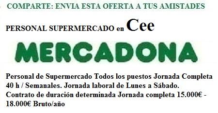 Cee, A Coruña. Lanzadera de Empleo Virtual. Oferta Mercadona