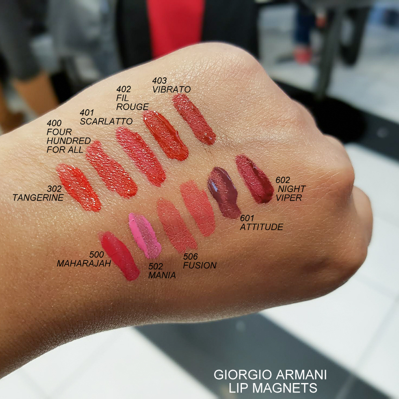 Giorgio Armani Lip Magnet Liquid Lipsticks Swatches 302 Tangerine 400 Four Hundred for All 401 Scarlatto 402 Fil Rouge 403 Vibrato 500 Maharajah 502 Mania 506 Fusion 601 Attitude 602 Viper Night