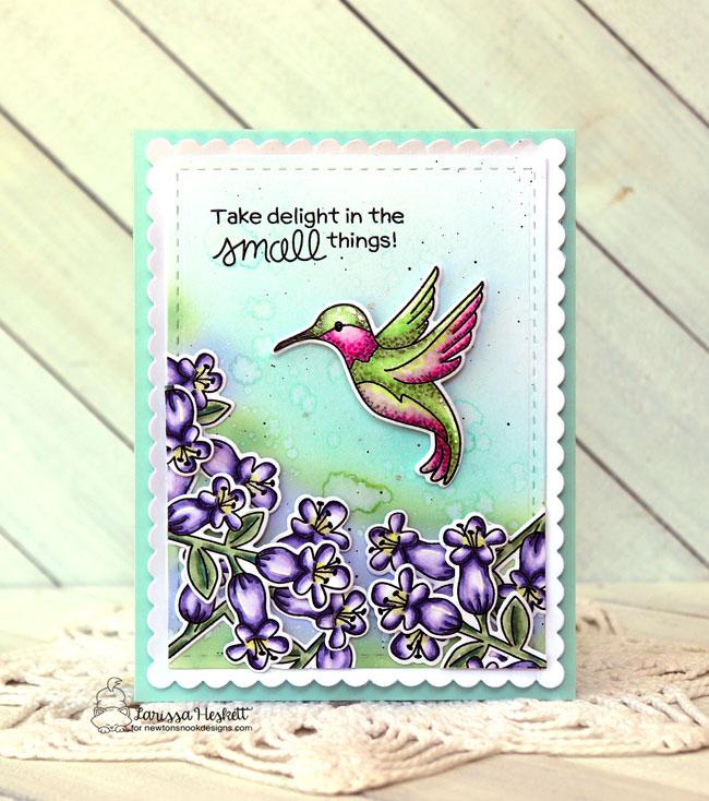 Hummingbird Card by Larissa Heskett   Hummingbird Stamp Set and Frames & Flags Die Set by Newton's Nook Designs #newtonsnook #handmade