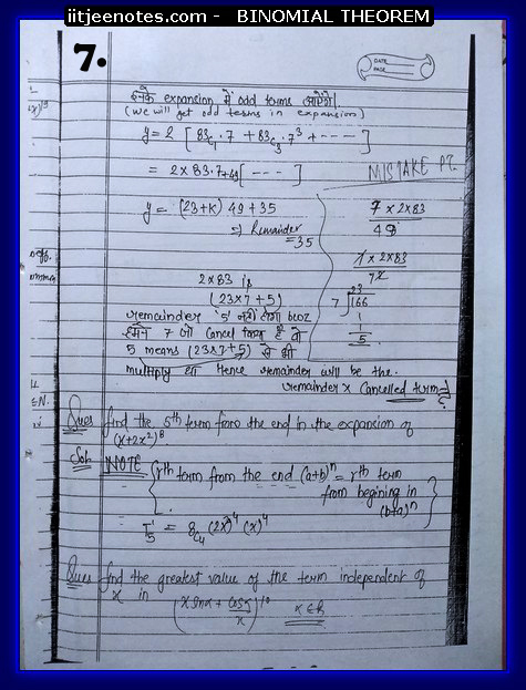 IITJEE Notes on Bimomial Theorem7