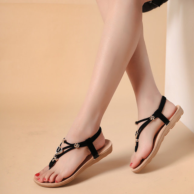 Bohemia Heart Shaped Beaded Clip Toe Flip Flops Flat Sandals