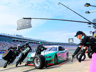 Austin Cindric came to the pits in second place at the conclusion of Stage 1 in the NASCAR Xfinity Series Drive for the Cure 250 presented by Blue Cross Blue Shield of North Carolina at Charlotte Motor Speedway.