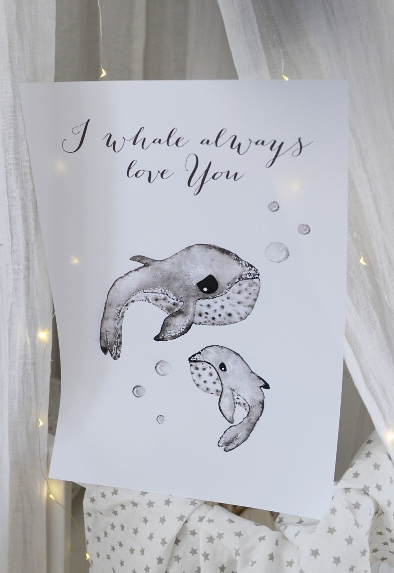 tavla barnrum, akvarellmålning barnrum, poster, barnrum, poster, print, valar, whale