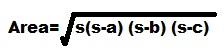 Formula of area of triangle when 3 sides given