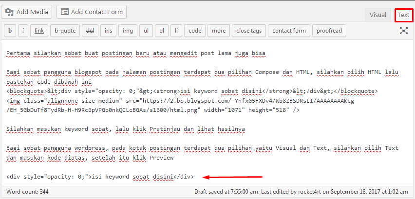 Cara Mudah Menyembunyikan Keyword di Blog Tanpa CSS