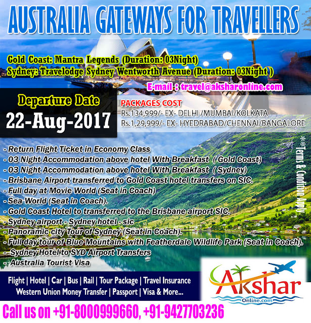 aksharonline.com, 9427703236, 8000999660, Australia Air Ticket, Australia Hotel Booking, Tour Package Domestic and international, Holiday Package Booking Agent in Ahmedabad, Tours Agent in Ahmedabad, Hotel Packages Booking agent in Ahmedabad