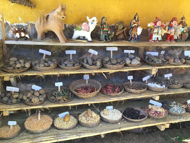 Muestra de artesanía, variedades de patatas y maíces peruanos.