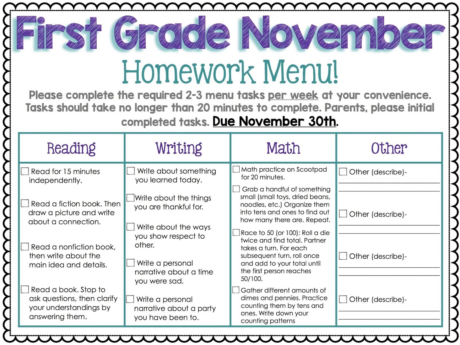 Homework help for first graders