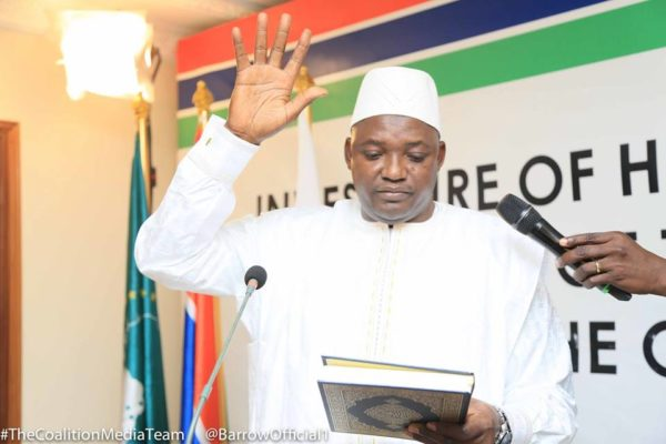 Adama Barrow Takes Oath Of Office, Orders Armed Forces,Demands Loyalty From the Gambian Army