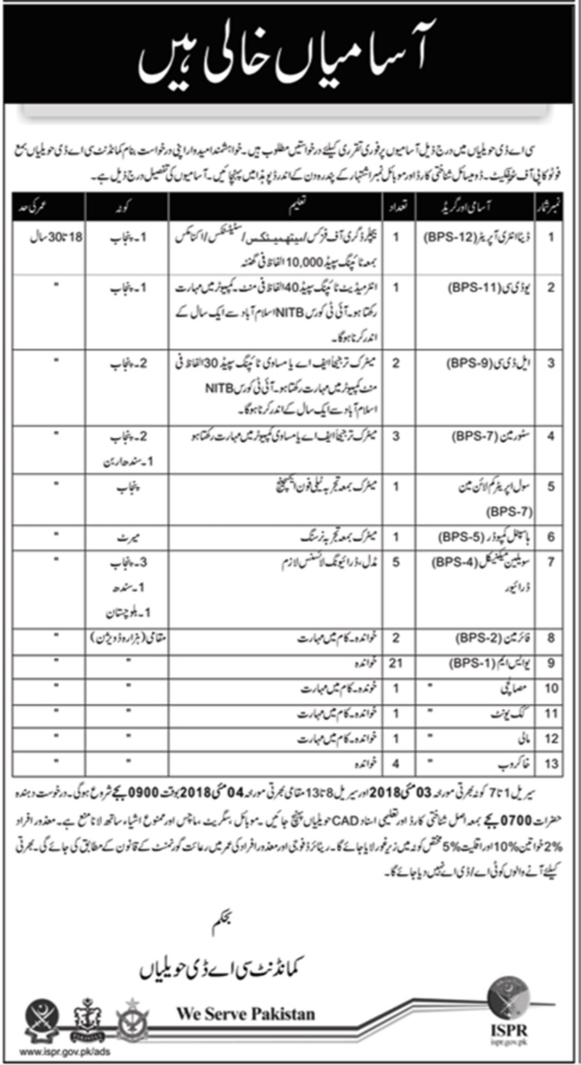 CAD Hawaila Jobs in Pakistan Army