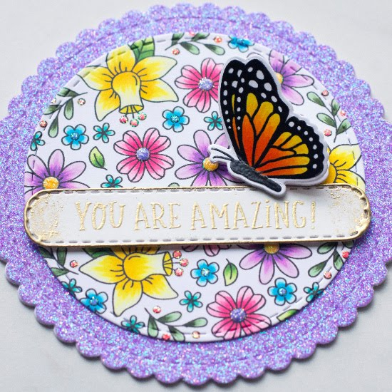 Butterfly Circle Card by June Guest Designer Amy Tollner | Floral Roundabout Stamp Set, Monarchs Stamp Set, Circle Frames Die Set, and Banner Trio Die Set by Newton's Nook Designs #newtonsnook #handmade
