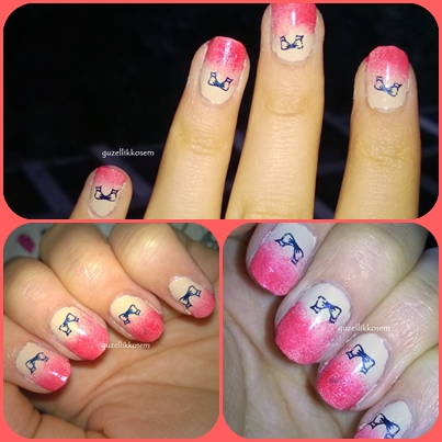 Nailioness Bow Stamped Ombre Nail Art