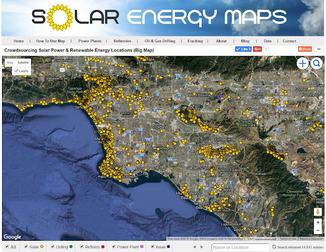 Solar Map of Los Angeles, Orange County and San Diego commercial apartments, buildings & parking lots and roof.