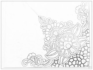 Hand emroidery saree corner design patterns pencil sketch on tracing paper.  How to draw saree corner design for machine embroidery and hand work design.