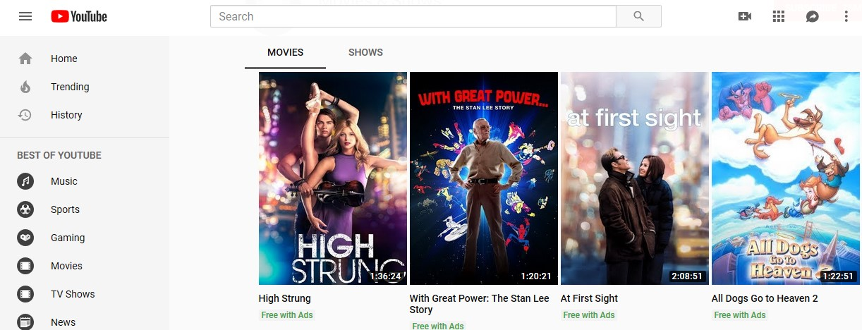 YouTube free movies list