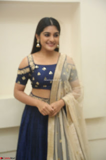Niveda Thomas in Lovely Blue Cold Shoulder Ghagra Choli Transparent Chunni ~  Exclusive Celebrities Galleries 075