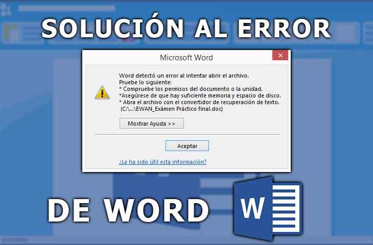 solucionar error de word