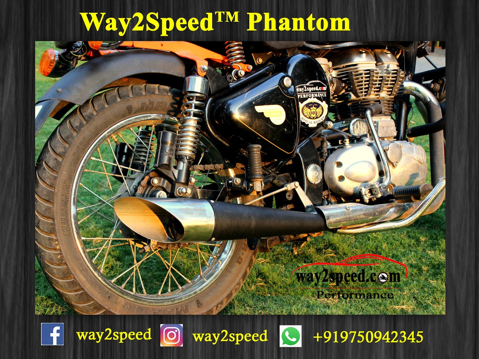"Way2speed Phantom Exhaust For  ""Royal Enfield"" 