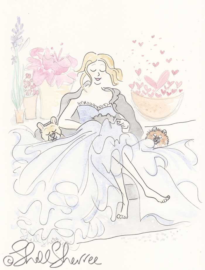 Fashion and Fluffballs illustration: Barefoot Ballgowned Hearts Flying © Shell Sherree
