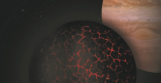 Artistic depiction meant to illustrate the early solidification and formation of the primordial crust on Mars with Jupiter seen in the background. Photo: Institut de Physique du Globe de Paris.