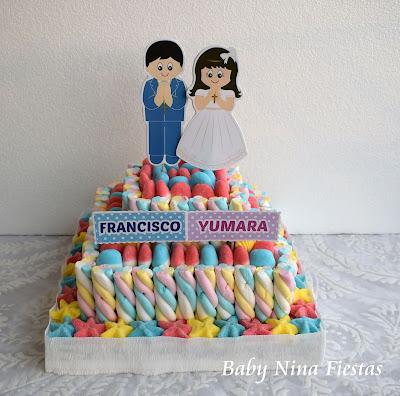 tarta chuches comunion niño y niña