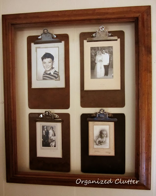 Framed Photo Clipboards www.organizedclutterqueen.blogspot.com
