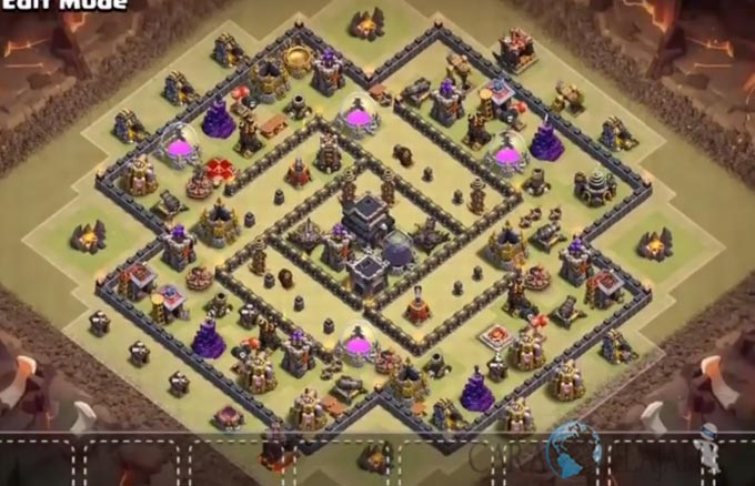 Base Trophy TH 9 COC Update Bomb Tower Terbaru 2017 Tipe 1