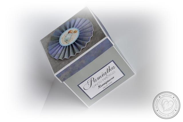 Niebiesko-szare pudełeczko na Chrzest Święty Remigiusza
