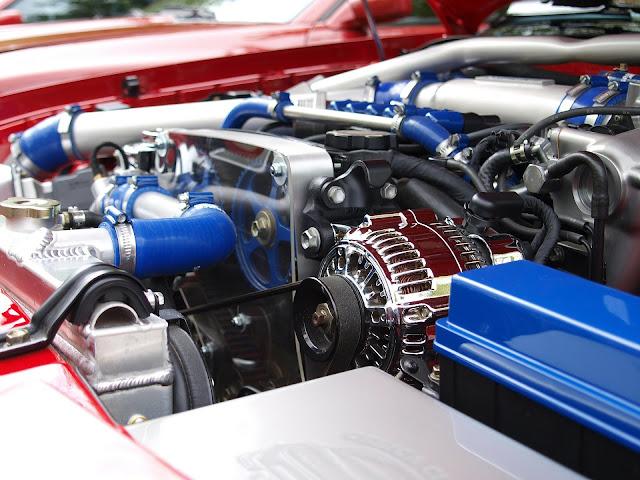 blue motor in a car